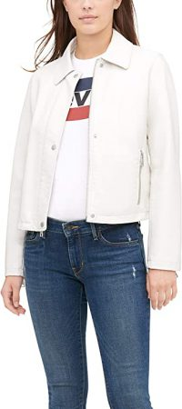 White Leather Jacket For Womens